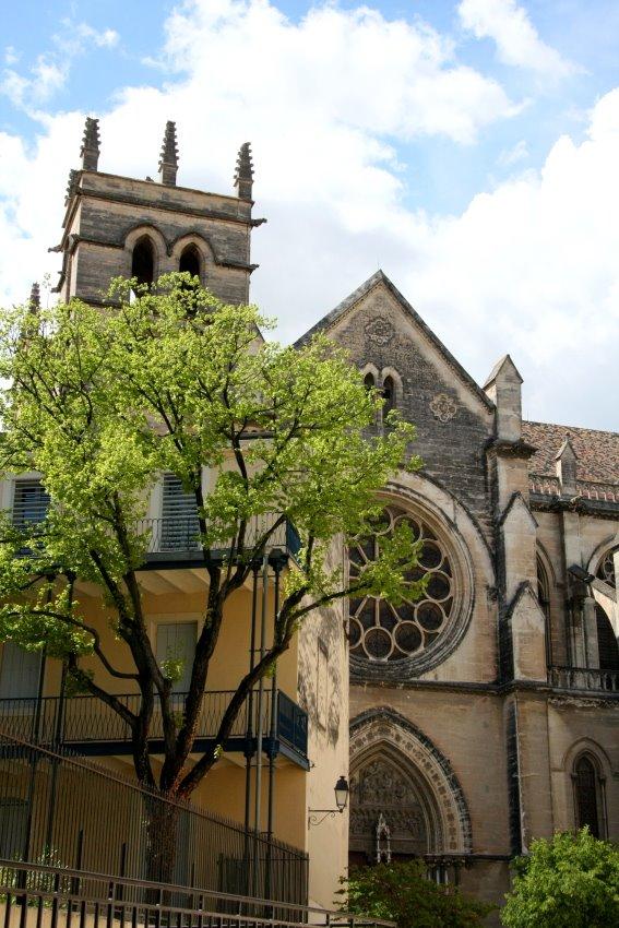 Rückansicht der Kathedrale in der Altstadt von Montpellier.