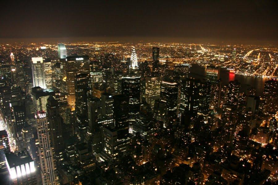 Ausblick an Silvester über New York bei Nacht