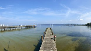 Symbolbild Mit dem Fahrrad um den Ammersee: Blick von der Hafenpromenade in Dießen auf den See